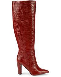 Sam Edelman Raakel Croc-embossed Leather Knee-high Boots - Red