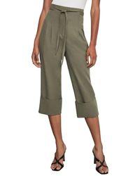 BCBGMAXAZRIA Women's Tie-front Cuffed Cropped Trousers - Dusty Olive - Size Xxs - Green