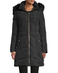 Karl Lagerfeld Faux Fur-trim Down Parka Coat - Black