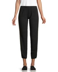 Monrow Side-stripe Cropped Joggers - Black