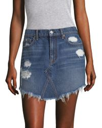 7 For All Mankind - Distressed Denim Skirt - Lyst