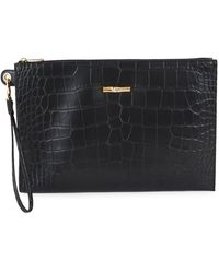 Longchamp Roseau Croc-embossed Leather Pouch Wristlet - Black