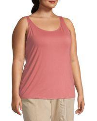 Eileen Fisher Women's Plus Scoopneck Slim Shell - Bright Sandstone - Size 2x (18-20) - Pink