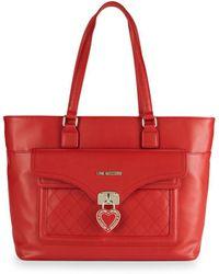 Love Moschino - Borsa Heart Locket Tote Bag - Lyst