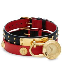 Versace Goldtone Stainless Steel & Double Leather-strap Padlock Watch - Red