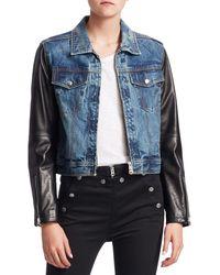 Rag & Bone Nico Leather & Denim Crop Jacket - Blue
