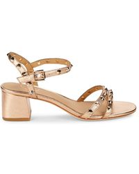 Ash Women's Rikki Studded Metallic Leather Sandals - Copper - Size 35 (5)