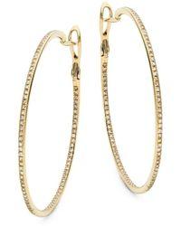 Saks Fifth Avenue Women's 14k Gold & Diamond Hoop Earrings - Metallic
