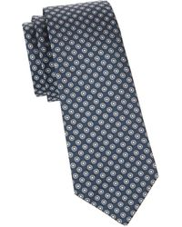 Canali Men's Printed Silk Tie - Blue