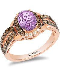Le Vian Chocolatier® Grape Amethysttm, Chocolate Diamonds®, Vanilla Diamonds®, 14k Strawberry Gold® Ring - Metallic