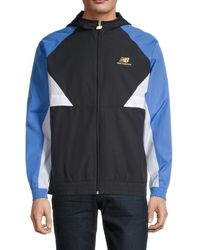 New Balance Men's Logo Colorblock Hooded Jacket - Blue - Size M