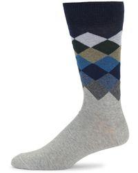 Saks Fifth Avenue Argyle Crew Socks - Grey