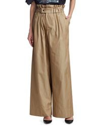 Tre by Natalie Ratabesi Louise Pinstriped Wide Leg Trousers - Brown