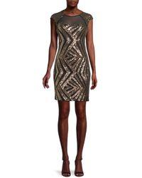 Guess Sequin Chevron Mini Sheath Dress - Black