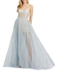 Mac Duggal Women's Sparkle Mesh Gown - Silver - Size 8 - Metallic