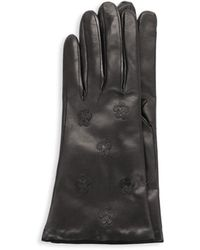 Portolano Floral Leather Gloves - Black
