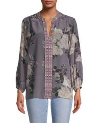 Johnny Was Women's Floral-print Silk Blouse - Slate Gray - Size L