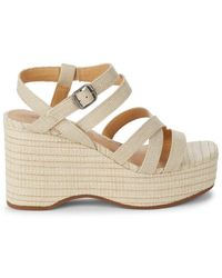Lucky Brand Women's Carlisha Strappy Wedge Sandals - Beige - Size 5.5 - Natural