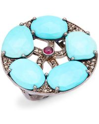 Bavna - Sterling Silver, Turquoise, Ruby & Champagne Diamond Ring - Lyst