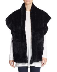 Saks Fifth Avenue - Rabbit Fur Shawl Vest - Lyst