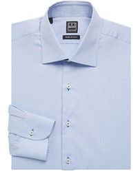 Ike Behar Regular-fit Mini Polka Dots Cotton Dress Shirt - Blue