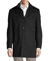 Saks Fifth Avenue Men's Classic Wool Top Coat - Black - Size S