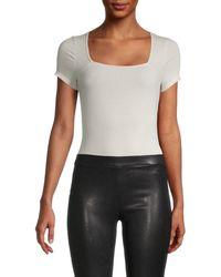 David Lerner Women's Ribbed Squareneck Bodysuit - Faded Black - Size Xs