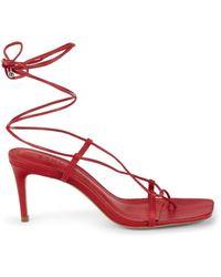 Schutz Women's Antosha Leather Heeled Sandals - Scarlet - Size 6 - Red