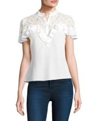 Rebecca Taylor - Lace-trimmed Silk-blend Top - Lyst