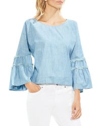 Vince Camuto - Extend Shoulder Bell-sleeve Cotton Blouse - Lyst
