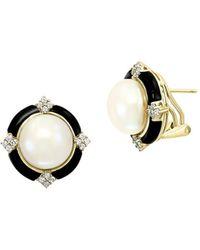 Effy Women's 14k Yellow Gold, 5mm Round Freshwater Pearl, Onyx & Diamond Stud Earrings - Metallic