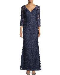 Carmen Marc Valvo 3d Floral Mermaid Gown - Blue