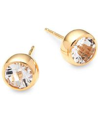 Anzie - Classique 14k Yellow Gold & White Topaz Stud Earrings - Lyst