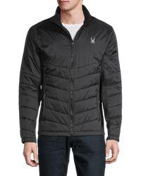 Spyder Logo Full-zip Quilted Jacket - Black