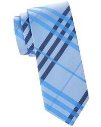 Saks Fifth Avenue Men's Plaid Silk Tie - Blue