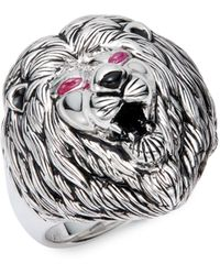 Effy 925 Sterling Silver Ruby & Onyx Lion Ring - Metallic