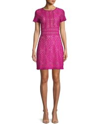 ABS By Allen Schwartz - Geometric Lace Mini Dress - Lyst