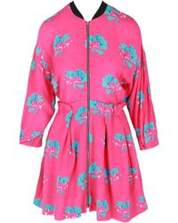 Maje Women's Floral Zip-up Dress - Printed Pink - Size 3 (l)