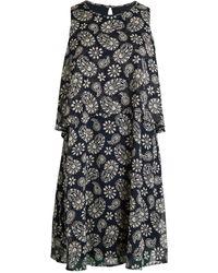 Tommy Hilfiger Paisley Floral Print Overlay Shift Dress - Black