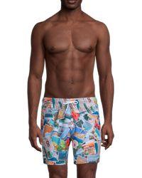 Trunks Surf & Swim Men's Printed Swim Shorts - Blue Multi - Size Xxl