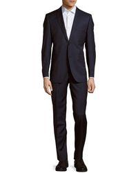 Saks Fifth Avenue Two-piece Trim-fit Wool & Silk Blend Suit - Blue