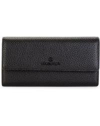 Valentino By Mario Valentino Collins Dollaro Pebbled Leather Continental Wallet - Black