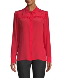 Maje Ruffled Silk Top - Red