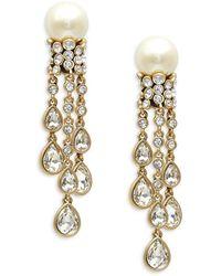 Heidi Daus Goldtone, Glass Pearl & Crystal Drop Earrings - Metallic