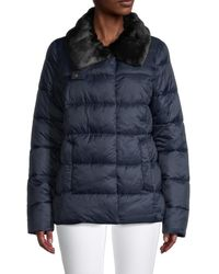 Barbour Mullein Faux Fur-collar Quilted Jacket - Blue