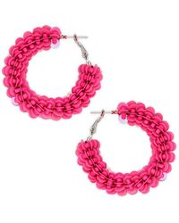 Panacea Sequiin & Bead Hoop Earrings - Pink