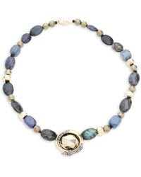 Alexis Bittar Coiled Snake Pendant Beaded Necklace - Multicolour