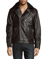 Karl Lagerfeld Men's Full-zip Moto Jacket - Black - Size M