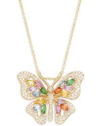 Effy 14k Yellow Gold, Sapphire & Diamond Butterfly Pendant Necklace - Multicolour