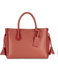 Longchamp Penelope Leather Handbag - Red